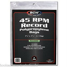 500 BCW Record Covers 45 rpm Plastic Outer Bags Holders - RESEALABLE