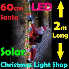 Solar LED Ropelight w Santa MULTICOLOUR Flashing Outdoor Christmas Xmas Light 2m