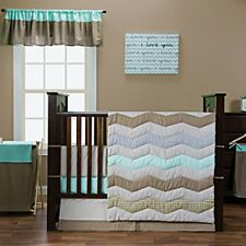 Cocoa Mint 3 Piece Baby Crib Bedding Set by Trend Lab MINT TAN  NURSERY CHECKED