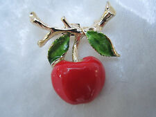 Vintage Apple Brooch Gerry's Red Cherry Pin Designer Signed Costume Jewelry