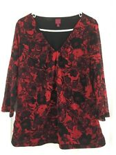 212 Collection Silky Dressy Lined Top Knit Blouse Red Black Floral VNeck Size XL