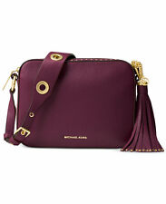 MICHAEL KORS BROOKLYN Large Camara CROSSBODY Leather TASSEL PLUM NWT