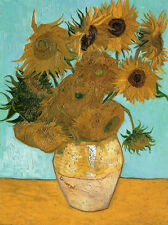 "VINCENT VAN GOGH, ""Vase with  Sunflowers"",  MUSEUM QUALITY 8.3X11.7 CANVAS PRINT"