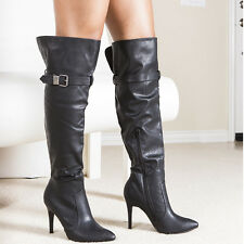 "Trendy Buckle Straps Sexy Slender 4""  Heel Over-The-Knee Boots Black Size 6"