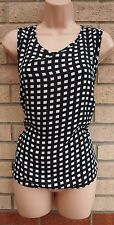 NEW LOOK WHITE BLACK CHECK TARTAN CHECKED SILKY FEEL TUNIC TOP VEST BLOUSE 18