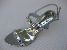 Pierre Dumas Womens Shoes NEW $45 Tory Silver Clear Jewelled Sandal 10 M