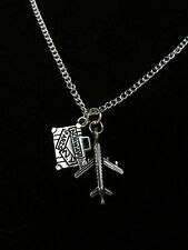 Airplane luggage long distance friend travel passion necklace. # 82115z