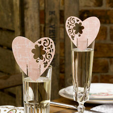 10 PINK HEART WINE GLASS Table PLACE CARDS Name Setting Wedding WITH LOVE