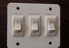 *NEW* SIGMA 3 LIGHT SWITCH PANEL Ceiling/Night/Roof Vent IVORY ON/OFF 2 Prong