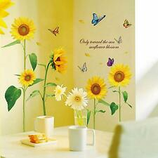Beautiful Sunflower Butterfly Flying Wallpaper Home Decor DIY Wall Sticker Sheet