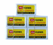 50 FEATHER New Hi-Stainless Platinum Coated Double Edge Razor Blades - Japan(Y)