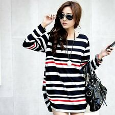 Women Girl Casual Loose Blouse Tops Long Sleeve Cotton Blend Striped Tops Shirts