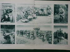 1915 FRENCH ARMY GAS MASKS STEEL HELMETS TRENCH MORTAR WWI WW1 DOUBLE PAGE