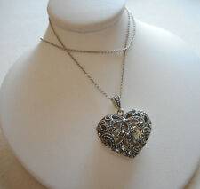 """Sterling Judith Jack Marcasite Heart Locket Pendant 16"""" Chain Necklace   RE2988"""