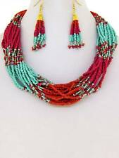 MULTI STRAND TURQUOISE FUCHSIA MIX GLASS SEED BEAD NECKLACE EARRING