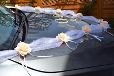 wedding car decoration, ribbon , bows, prom limusine , peach garland