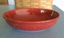 Longaberger Pottery Oval Vegetable serving Bowl Tomato red Woven Traditions NEW