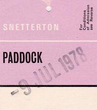 Snetterton Paddock Entry Swing Ticket  9 July 1978