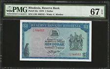 RHODESIA 1 DOLLAR, 1978 - PMG 67 UNC
