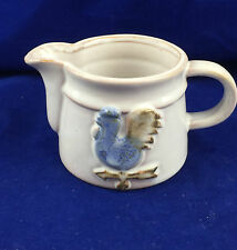 red clay blue weather vane rooster creamer white glazed pottery country pitcher