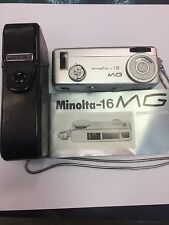 Minolta 16 16MG 16mm Subminiature Film Camera with case strap and instructions