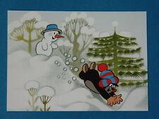 Postkarte KLEINE MAULWURF PAULI rutscht im Schnee + Schneemann NEU AK PK  Miler