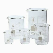 5 Graduated Glass Beaker Set 50 100 250 500 1000 ml Chemistry Lab Low Form