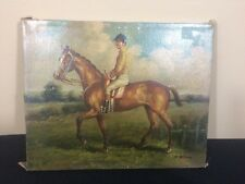 Antique Horse With Rider Jockey Oil Painting A. William 10in By 8in #39