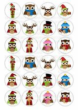 24 Christmas Owls Wafer Rice Paper Cupcake Topper Edible Fairy Cake Bun Toppers