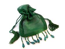 "Lot of 5 Green 3""x3"" Beaded Organza Bags Favor Pouch, Great for sachets jewelry"