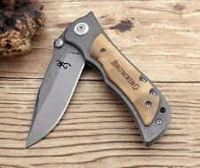 Folding Knife Steel Blade Wood Handle Titanium Pocket Tactical Survival Knives