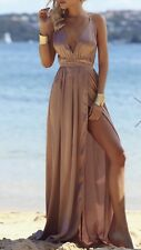 FOREVER HOT! NEW PEPPERMAYO MOCHA SILKY BACKLESS MAXI FORMAL DRESS 8 10 12