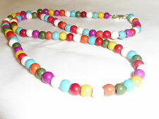 Hand Made Jewellery Blue, Red, Purple Natural Stone Beads Necklace - 23 inches