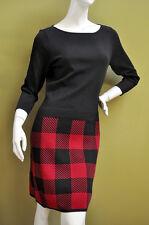Ralph Lauren Womens Red Black Cotton Blend Knit Sweater Dress Sz M
