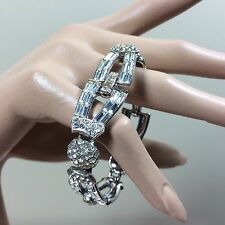 Art Deco Armband Strass Collier Silber 50ies Hollywood Schmuck Glamour Style