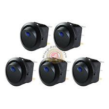5PCS Car 12V Round Rocker Dot Boat Blue LED Light Toggle Switch SPST ON / OFF