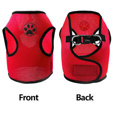 15'' Red Paw Print Air Mesh Dog Harness Puppy Vest Soft for Small Dogs Poodles