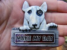 Vtg MAKE MY DAY Belt Buckle SPUDS Terrier 3D BUD 1992 DOG Dirty Harry RARE VG+
