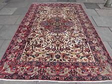Old Shabby chic Traditional Hand Made Persian Wool Red Oriental Carpet 309x208cm