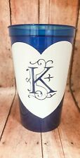 Personalized 16 oz Plastic Tumbler, Plastic cup with lid and straw, blue Spiker