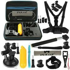 GOPRO HERO 4 SESSION 3+ 3 2 PULUZ 20 IN 1 COMBO ACCESSORY MOUNT KIT + HARD CASE