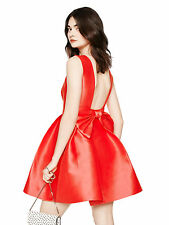 Kate Spade Red Geranium Silk Open Back Silk Mini Dress Bow Detail sz 4; NWT$428
