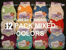 BUMGENIUS ELEMENTAL ALL COLORS CLOTH DIAPERS NIP 12 PACK MULTI-COLOR ORGANIC MIX