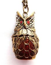 BRONZE OWL TRINKET BOX PENDANT prayer locket stash necklace bird rhinestone Q3