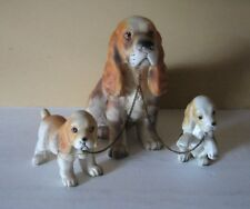 Vtg.Erich Satuffer Set of 3 Bone China Cocker Spaniel Dogs On Chains Figurines