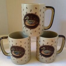 Set of 3 Ducks On A Pond Setting Ceramic Coffee Mug Cup Mallard Wood