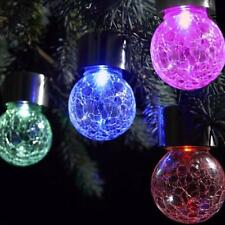 4pcs/set Crackle Glass Globe Solar Lights With Hanger Pathway Solar Gazebo Light