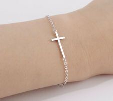 Silver Plated Unisex Delicate Chain Bracelet with Cross Decoration