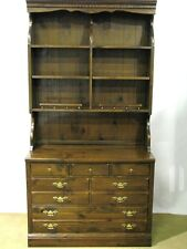 "Ethan Allen 1970's ""Antiqued Pine"" Two-Piece Dresser Bookcase; 3 Drawers"