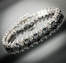 10K White Gold Blue Topaz & Diamond Tennis Bracelet